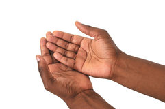 Begging African hands Royalty Free Stock Photography