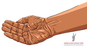 Begging hand, African ethnicity, detailed vector illustration Stock Images