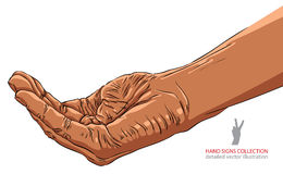 Begging hand, African ethnicity, detailed vector illustration. Royalty Free Stock Photos
