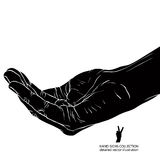 Begging hand, detailed black and white vector illustration Stock Photography