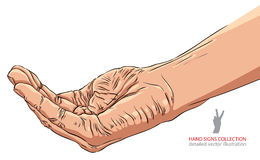 Begging hand, detailed vector illustration. Stock Photos