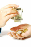 Begging hand and giving his hand. Gift, begging hand and giving his hand on a white background, hand a young and an elderly woman, penny, coins, banknotes Royalty Free Stock Photo