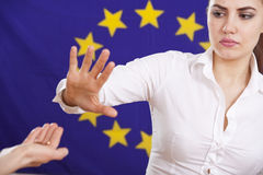 Begging hand to european union Stock Images