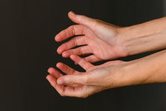 Begging hands, close-up Royalty Free Stock Image