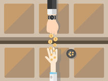Begging hands. A vector illustration of a concept of the gap between the rich and the poor Royalty Free Stock Photography
