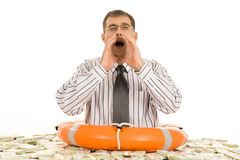 Begging for help. Photo of businessman keeping his hand by mouth and asking for help Stock Photo