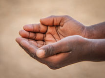 Begging. Indian Child begging hands closeup Stock Photos