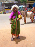 A begging old woman in India Stock Photos