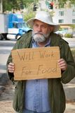 Begging With Sign Stock Image
