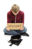 Begging Student - Education Funding Costs Royalty Free Stock Photos