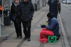 BEGGING IS UNLAWFUL IN DENAMRK. Copenhagen / Denmark_  02 .February  2017 - Beging is unlawful in Denmark  even thugh poeple from former easteern european block Stock Photography