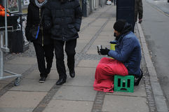 BEGGING IS UNLAWFUL IN DENAMRK. Copenhagen / Denmark_  02 .February  2017 - Beging is unlawful in Denmark  even thugh poeple from former easteern european block Stock Photo