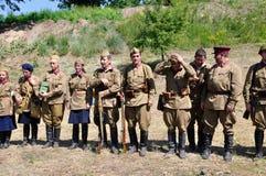 "The begging of war. The historical reconstruction of Russian-German battle for pillbox â""–179 near Kiev on June 22, 2013 in Vita-Poshtova, Ukraine stock images"