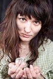 Begging young woman Stock Photos