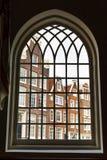 Begijnhof历史的房子在阿姆斯特丹,荷兰窗口视图 免版税库存照片