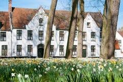Begijnhof in Brugge, België royalty-vrije stock afbeelding