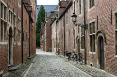 Begijnhof, Leuven. Small cobble-stone street with traditional flanders houses in Grand beguinage of Leuven royalty free stock image