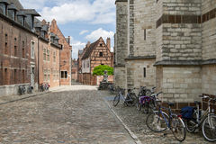 Begijnhof, Leuven. Bicycles parked next to the walls of old houses in Grand Beguinage of Leuven royalty free stock photography