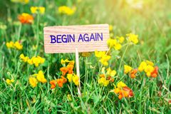 Begin again signboard. Begin again on small wooden signboard in the green grass with flowers and sun ray royalty free stock photos