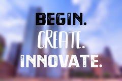 Begin create innovate. Technology startup motivation poster - begin create innovate vector illustration