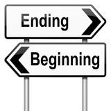 Begin or end. Illustration depicting a roadsign with a beginning or ending concept. White background Royalty Free Stock Photography