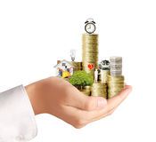 Begin for mortgage concept by money house from coins Stock Image