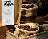Begin a new day with organic coffee product Stock Image