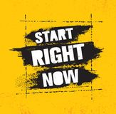 Begin op dit ogenblik Het inspireren Creatief de Affichemalplaatje van het Motivatiecitaat met Borstelslag Het vectorontwerp van  stock illustratie