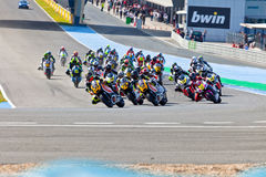 Begin of the race of Moto2 of the CEV Championship Royalty Free Stock Photography