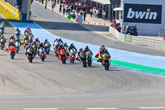 Begin of the race of Moto2 of the CEV Championship Royalty Free Stock Photos