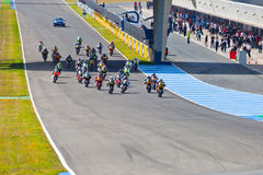 Begin of the race of Moto2 of the CEV Championship Stock Photos