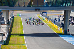 Begin of the race of Moto2 of the CEV Championship Royalty Free Stock Image