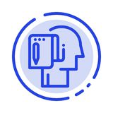 Begin, Start From Scratch, List, Note, Start Blue Dotted Line Line Icon royalty free illustration