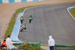 Begin of the training of Moto2 of the CEV. JEREZ DE LA FRONTERA, SPAIN - NOV 20: Motorbike competitors begin the Moto2 official training in the CEV Championship Stock Photo