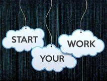 Begin uw werk aangaande wolkenbanner vector illustratie
