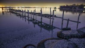Begin van de dag, gouden zand, Bulgarije, zonsondergang, overzees Stock Fotografie