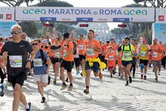 Begin van de Looppas voor Pret in de 24ste uitgave van Rome Maratho Royalty-vrije Stock Foto's