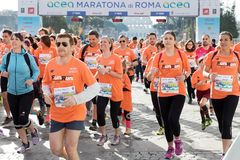 Begin van de Looppas voor Pret in de 24ste uitgave van Rome Maratho Stock Fotografie