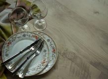 Begin van een romantisch diner Stock Foto