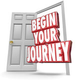 Begin Your Journey 3d Words Open Door Start Moving Now. Begin Your Journey words in 3d red letters coming out an open door to invite you to start your challenge royalty free illustration