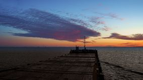 Begining of the day. Morning at sea.View from wing of navifational bridge of cargo ship. stock images