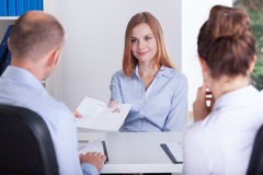 Begining of the job interview Royalty Free Stock Photography