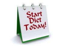 Beginnen Sie Diät heute zu kennzeichnen Stockfotografie