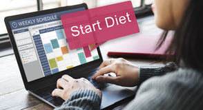 Beginnen Sie Diät-gesundes Planungs-Zeitplan-Konzept Stockfotos