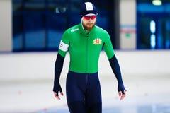Beginnen Sie 500 m-Eisschnelllaufmann Stockbild