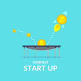 Beginnen Sie oben in der flachen Art Einkommen und Erfolg Geschäftsillustration für Design Stockbild