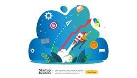 Beginnen Sie oben Ideenkonzept Projektgesch?ft mit kleinem Leutecharakter der Rakete Produkteinf?hrungsschablone des neuen Produk lizenzfreie abbildung