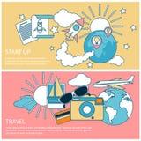 Beginnen Sie oben Rakete und internationale Reise Lizenzfreie Stockfotografie