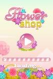 Beginnen Sie Schirm-Spiel-Benutzerschnittstelle für Blumenladen-Spiel stock abbildung