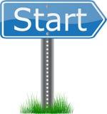 Beginnen Sie Signpost Stockbild